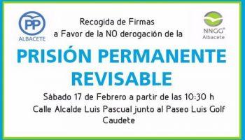 Mañana sábado habrá una recogida de firmas en Caudete contra la derogación de la Prisión Permanente Revisable