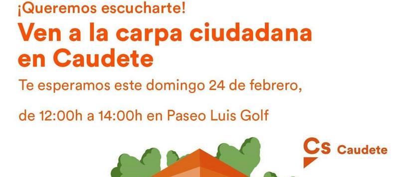 Ciudadanos Caudete instalará el domingo 24 una carpa informativa en el Paseo Luis Golf