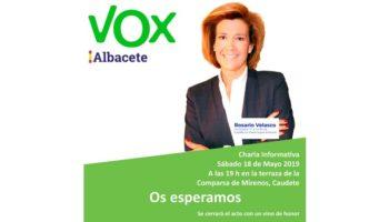 Rosario Velasco, candidata de Vox a la Junta de CLM por Albacete, ofrecerá una charla en Caudete el próximo 18 de mayo