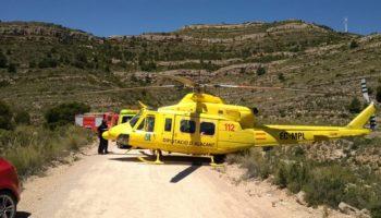 Un senderista herido y rescatado en helicóptero en Sierra Oliva de Caudete