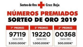 Cruz Roja Caudete informa de los números premiados en el Sorteo del Oro 2019
