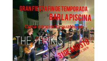 Una cena con guateque, a cargo de The Frikis, cerrará la temporada de la piscina municipal de Caudete