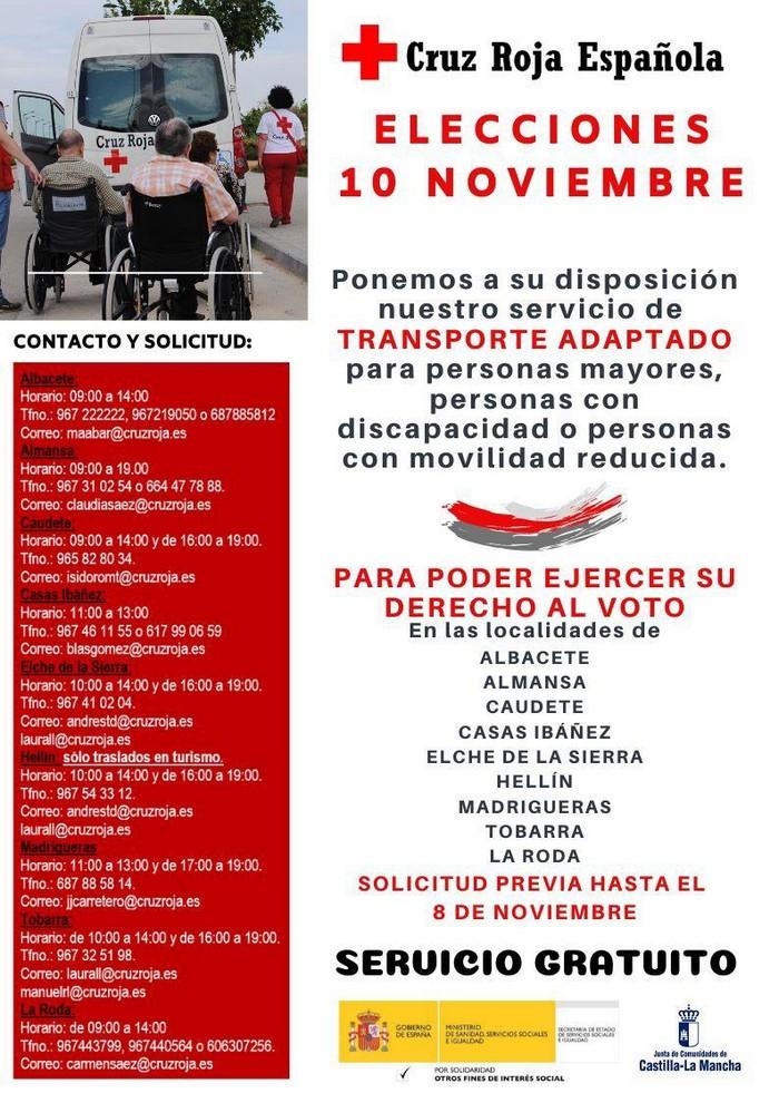 Cruz Roja en Caudete facilitará el transporte adaptado hasta los locales electorales el próximo domingo, Caudete Digital - Noticias y actualidad de Caudete (Albacete)