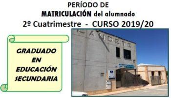 Abierto el plazo de matriculación del 2º cuatrimestre del Curso 2019/2020 de Graduado en Educación Secundaria del Aula de Adultos