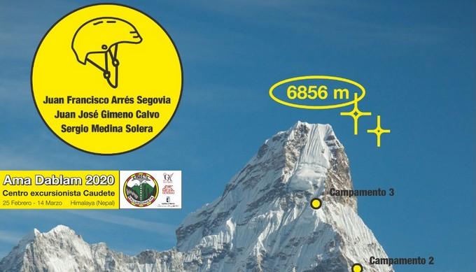 Tres caudetanos afrontan una dura aventura: ascender al Ama Dablam, la montaña perfecta del Himalaya