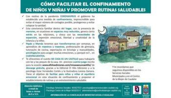 La Concejalía de Bienestar Social e Igualdad de Caudete ofrece consejos para facilitar el confinamiento de los niños