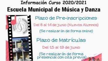 La Escuela Municipal de Música y Danza ha abierto el plazo para las solicitudes de preinscripciones y matrículas para el próximo curso 2020/2021