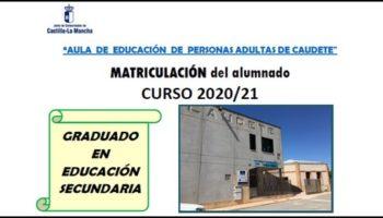 Se inicia el plazo matriculación del Curso 2020/2021 del Aula de Educación de Personas Adultas de Caudete