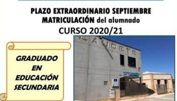 Se abre el plazo de matriculación del Aula de Adultos de Caudete para el Curso 2020/2021