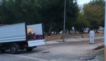 El Ayuntamiento de Caudete realiza un tratamiento preventivo para evitar la procesionaria en los pinos