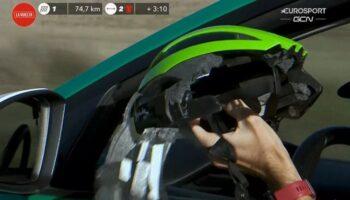 El casco de Héctor Sáez evitó una tragedia en La Vuelta, pero el caudetano ya no pudo terminar la etapa de ayer