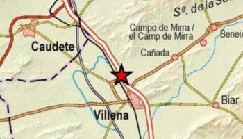 Hace poco más de media hora se ha producido un terremoto de 2,2 grados en Villena