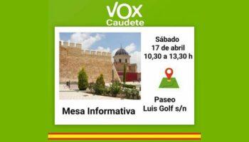 Vox Caudete instalará una mesa informativa en el Paseo Luis Golf el próximo sábado