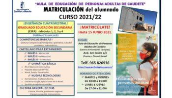 Abierto el plazo de matriculación del Curso 2021-2022 del Aula de Personas Adultas de Caudete