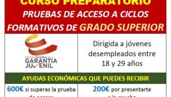Curso preparatorio de las pruebas de acceso a ciclos de Grado Superior, con 600 euros para el alumno si lo aprueba